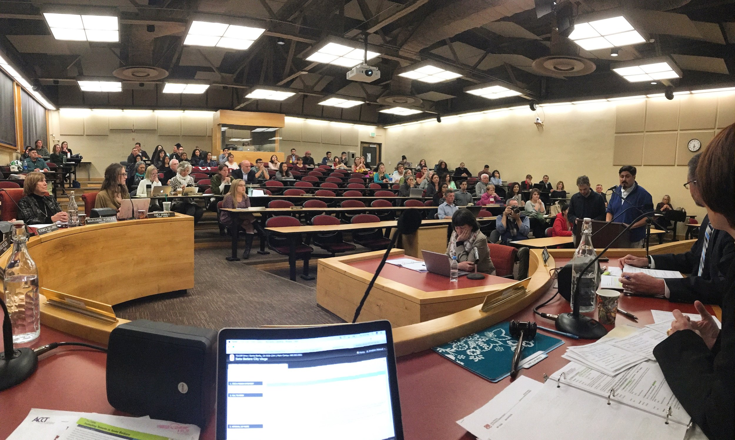 The January 26, 2017 Board meeting - dozens of community members spoke in favor of the resolution to support and protect undocumented students