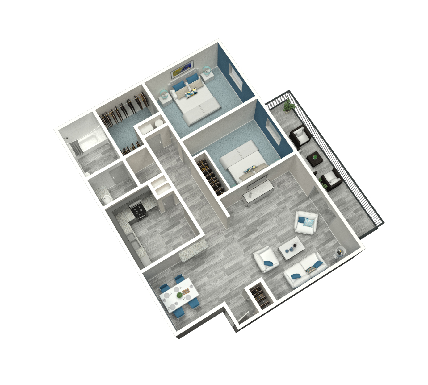 2 Bed | 1 Bed | 1095 SF