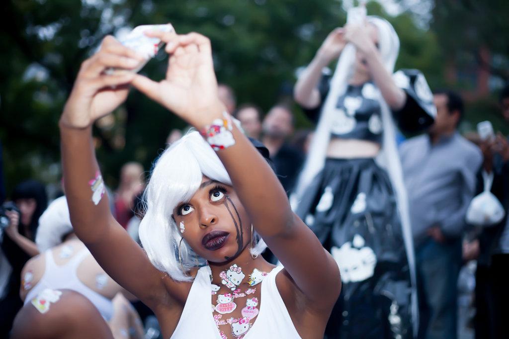 Image: Elizabeth Mputu in  Hello Selfie , 2015. Photo by Emily Raw.