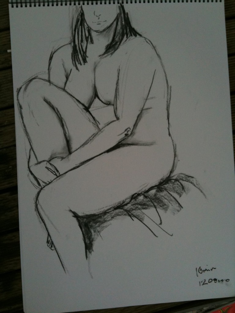 10 mins pose - A2. I'm not sure if I struggle with the bigger size due to a lack of practice, or the inability to see the whole picture at that scale. this is not a favourite. It's educational to see the bad with the good I guess.
