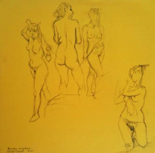 "5 mins poses - square cardstock. pencil"""