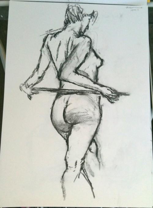 10 mins pose - A3. charcoal