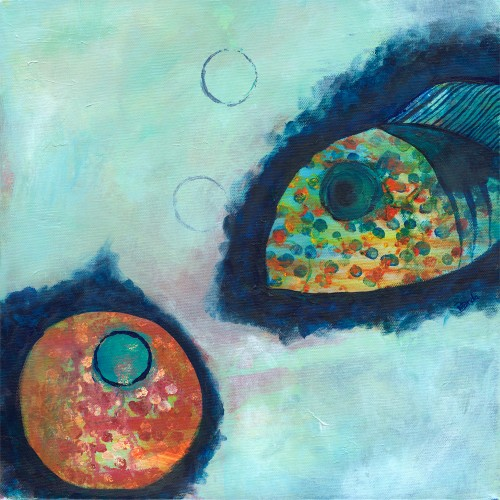 FISHY ANGLE, Acrylic on canvas, 14 x 14inches, ©2010 Brenda Mangalore/ Sashé Studio