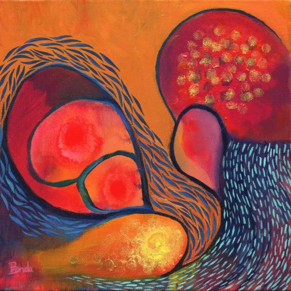 DANCE IN ORANGE, Acrylic on canvas, 10 x 10inch, ©2011 Brenda Mangalore/Sashé Studio