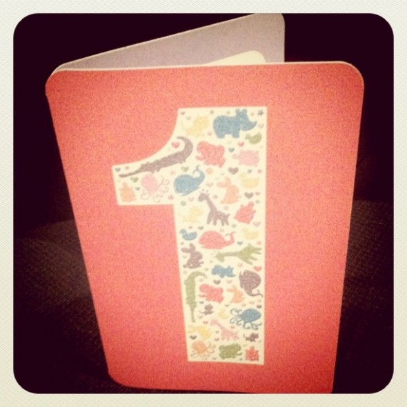 1st birthday card - one of the last designs I did at my old job.