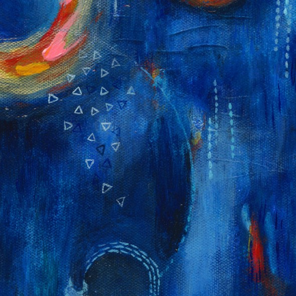 "CAPRICIOUS HAZE (Detail) Acrylic on canvas, 10"" x 10"" ©2012 Brenda Mangalore/Sashé Studio"