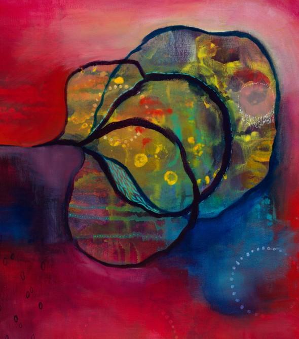 """BLOOMING PRESENT (Detail) Acrylic on canvas, 24"" x 20"" ©2011 Brenda Mangalore/Sashé Studio"""