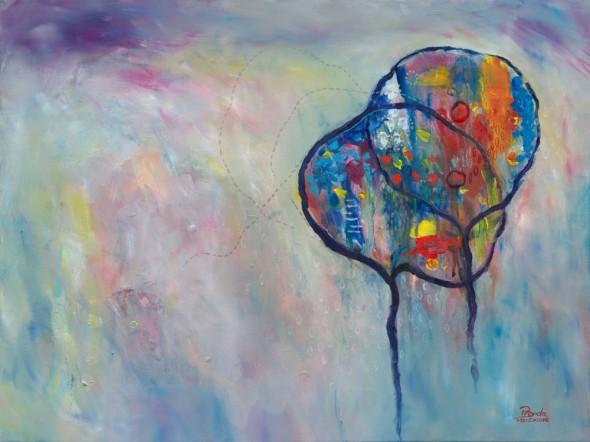 """TOGETHER WITH GREY Acrylic on Canvas 18"" x 24"" ©2012 Brenda Mangalore/ Sashé Studio"""