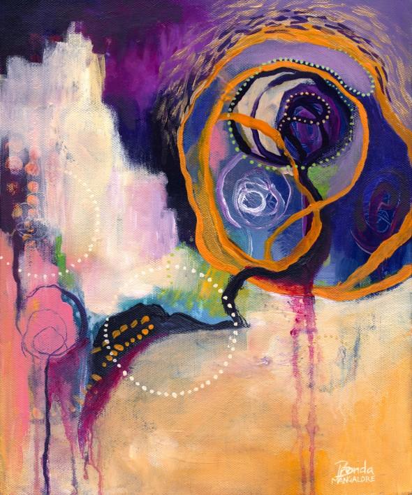 """LACE & SPIRAL Acrylic on Canvas 10 x 12inch ©2012 Brenda Mangalore / Sashé Studio"""