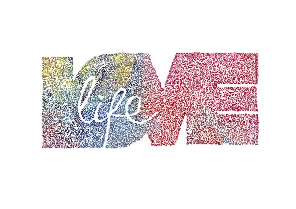 """LOVE LIFE - Bloom Edition Doodle Drawing ©2012 Brenda Mangalore/Sashé Studio Society"""