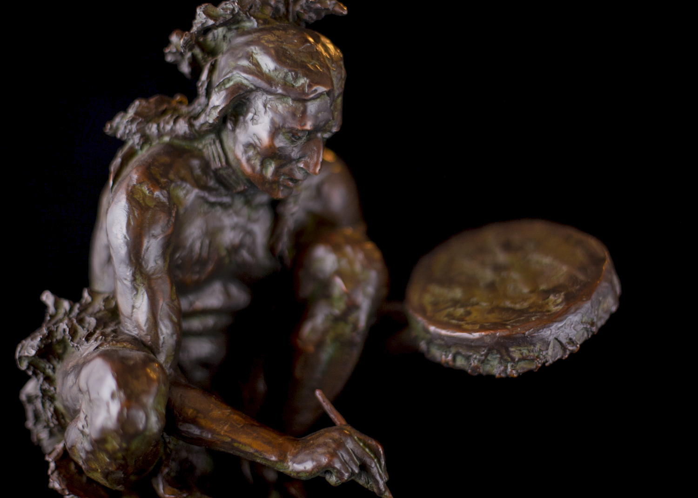"""Cheyenne Drum Painter   12.5"""" x 9.5"""" x 11""""   Bronze   $3,600   Edition of 30"""