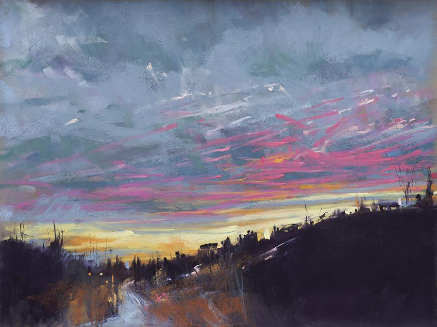 "Snow, Sky, & Sunset | 12"" x 16"" | Pastel | $1,700"