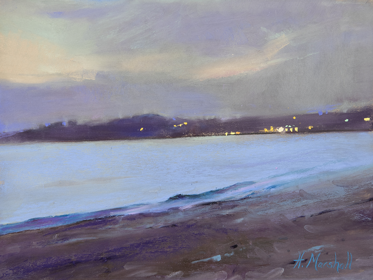 "Evening Beach Walk | 9"" x 12"" | Pastel | $1,200"