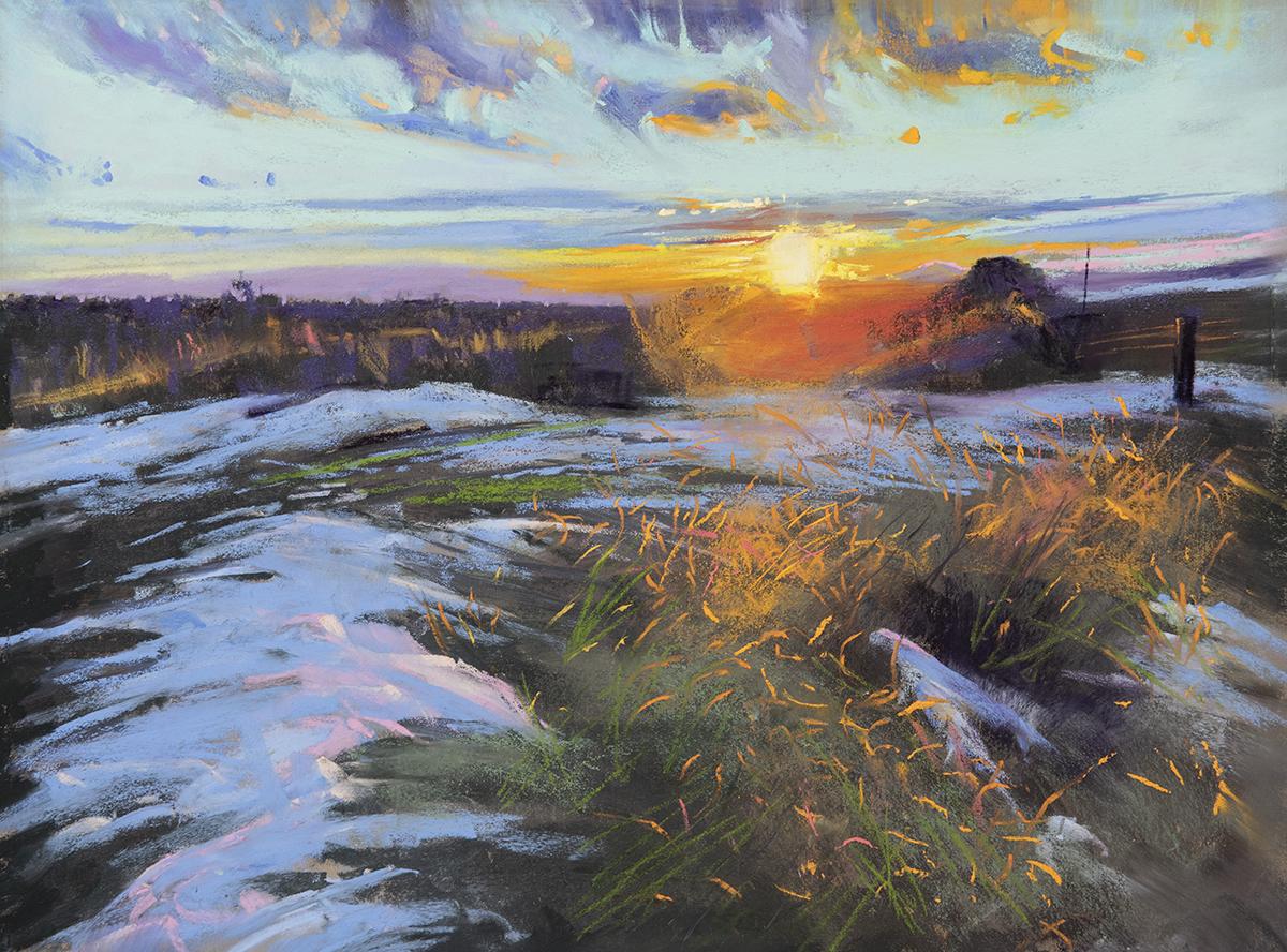 "Santa Fe Sunset | 12"" x 16 | Pastel | $2.000"