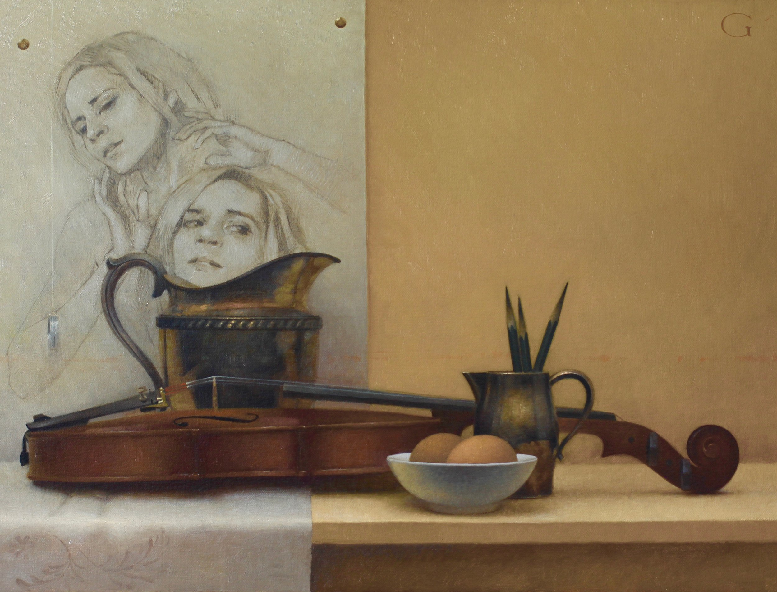 "Double Portrait (with Still Life)  |  18"" x 24""  