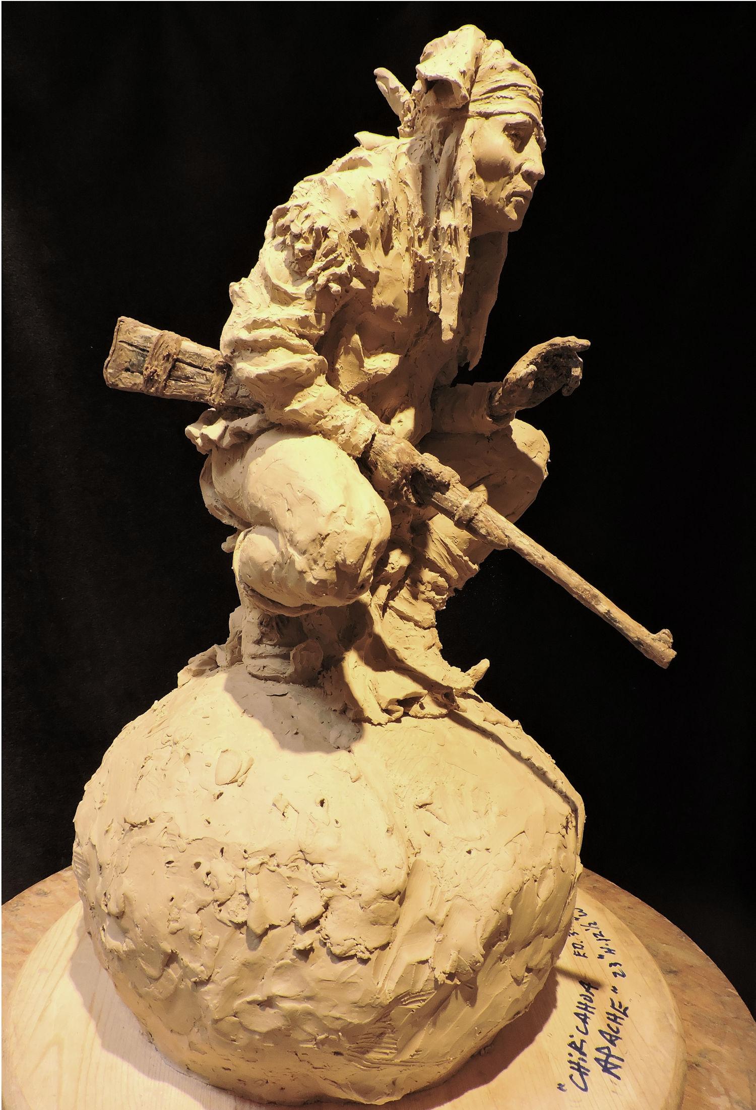 "Chiricahua Apache   Clay Precast for bronze    23"" x 12.5"" x 14""   Edition of 30   $4,800"