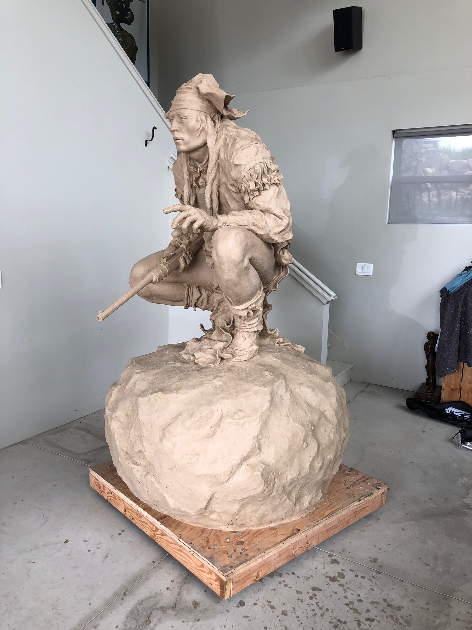 "Chiricahua Apache (Monument) by Scott Rogers | Precast Clay for Bronze | 6'11"" x 4'2"" x 4'2"" | $54,000"