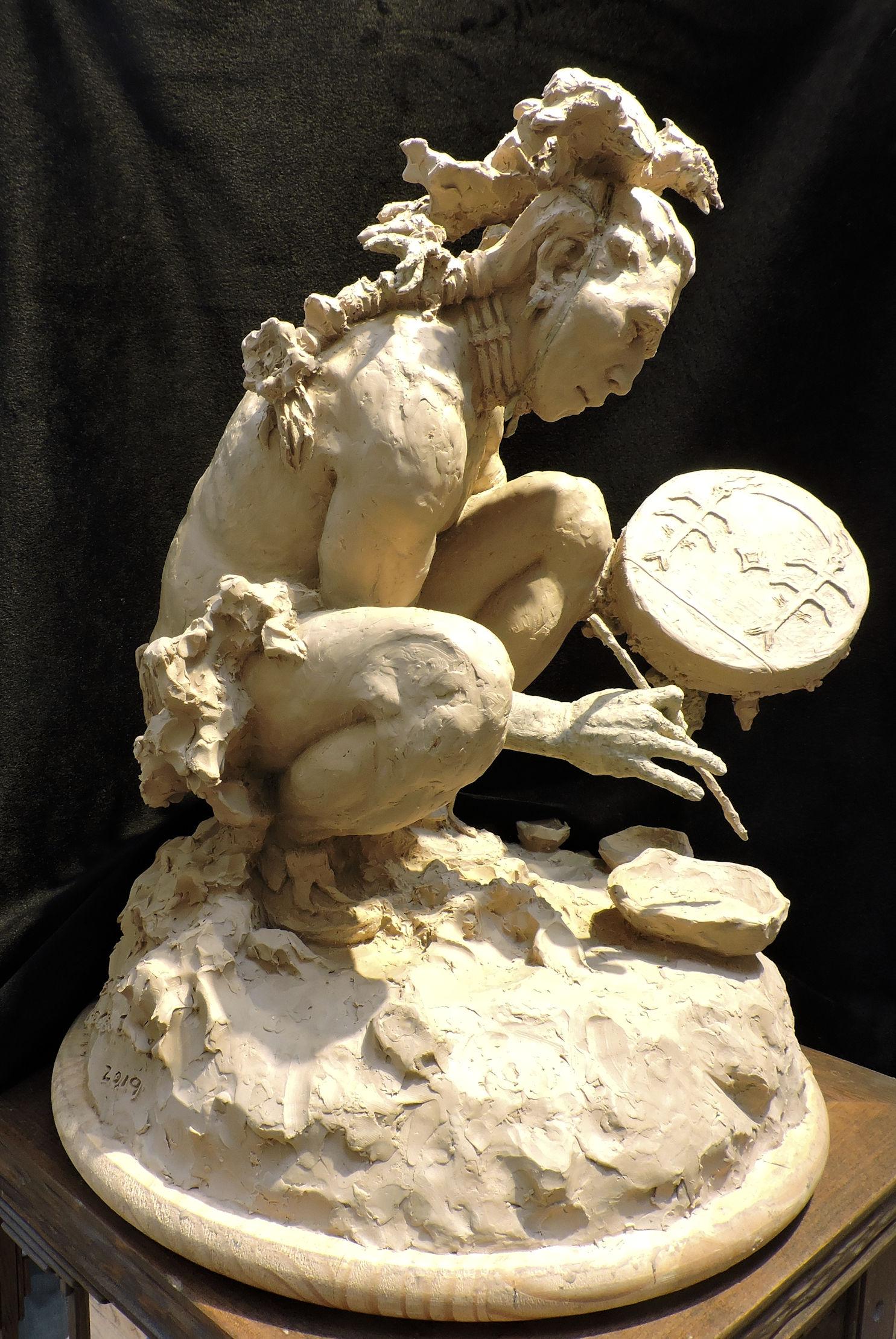 "Cheyenne Drum Painter | 21.5""H x 16"" W x 16"" D | Clay Precast Model for Bronze |  Ltd. Ed. Bronze of 30 | $7,800"