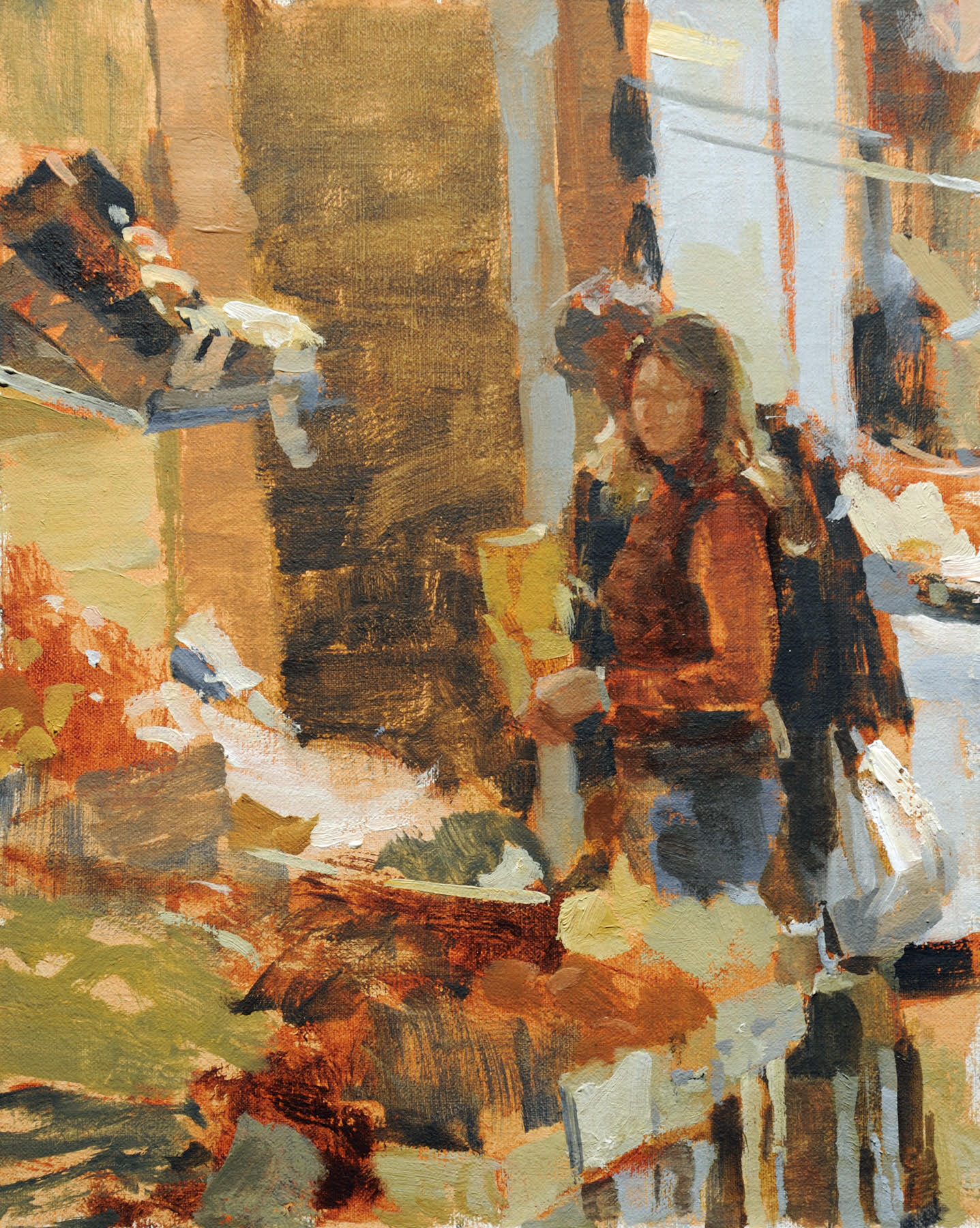 """Moment At The Market   10"""" x 8""""   Oil   $1,075"""
