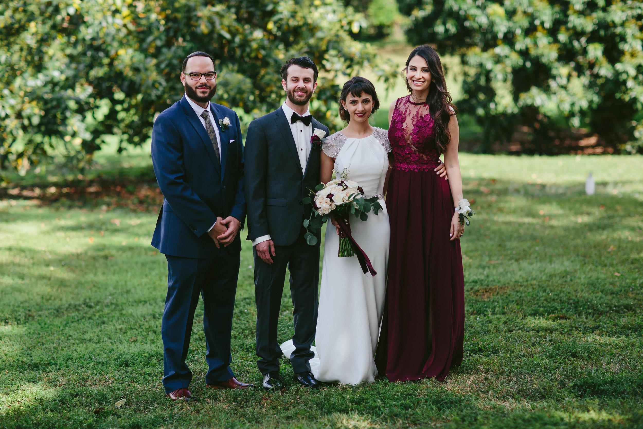 wedding party portrait flamingo gardens