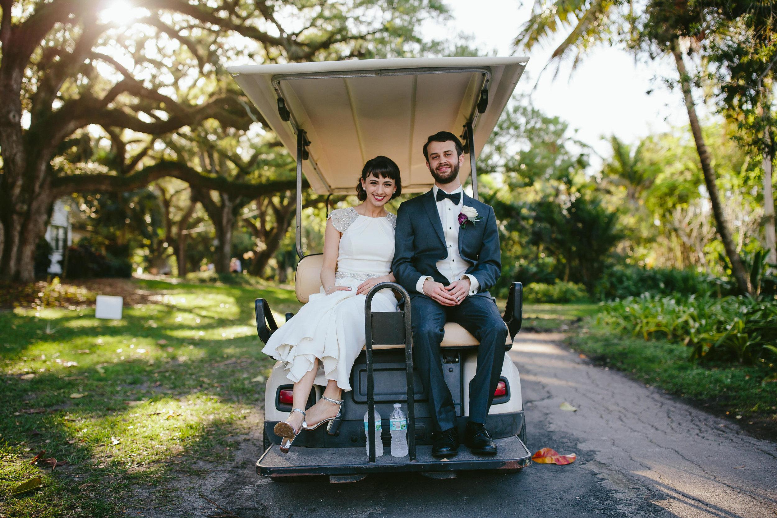 documentary wedding photographer south florida golf cart