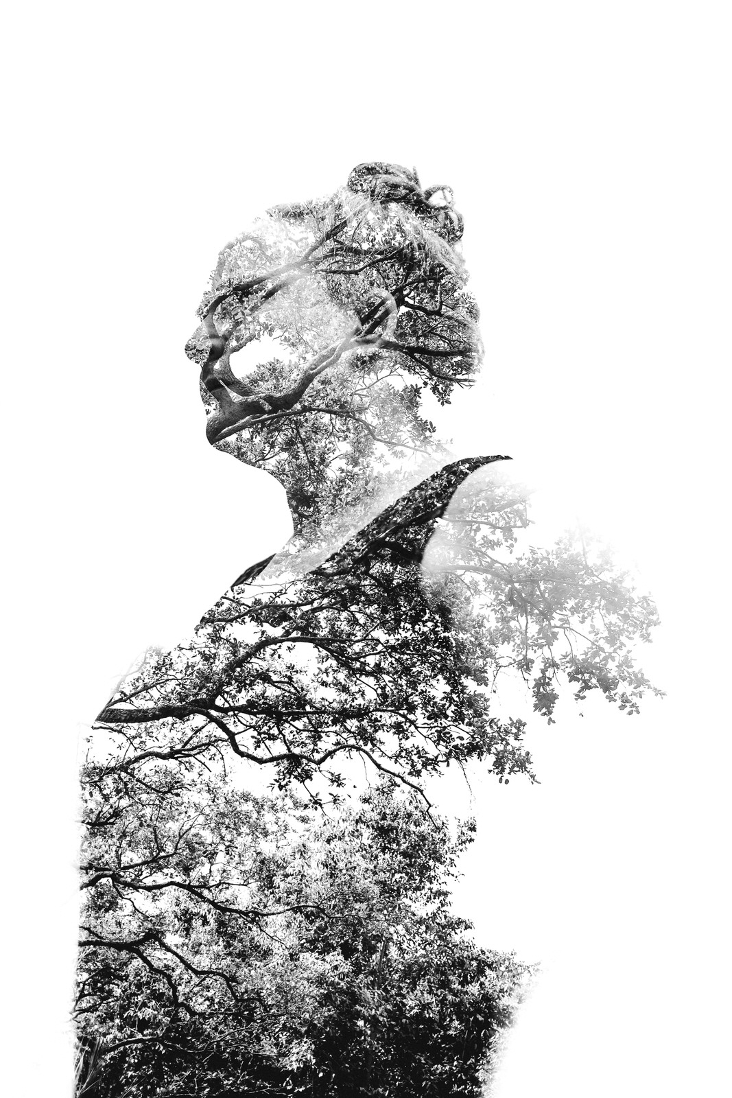 black and white double exposure in camera canon 5d mark iii
