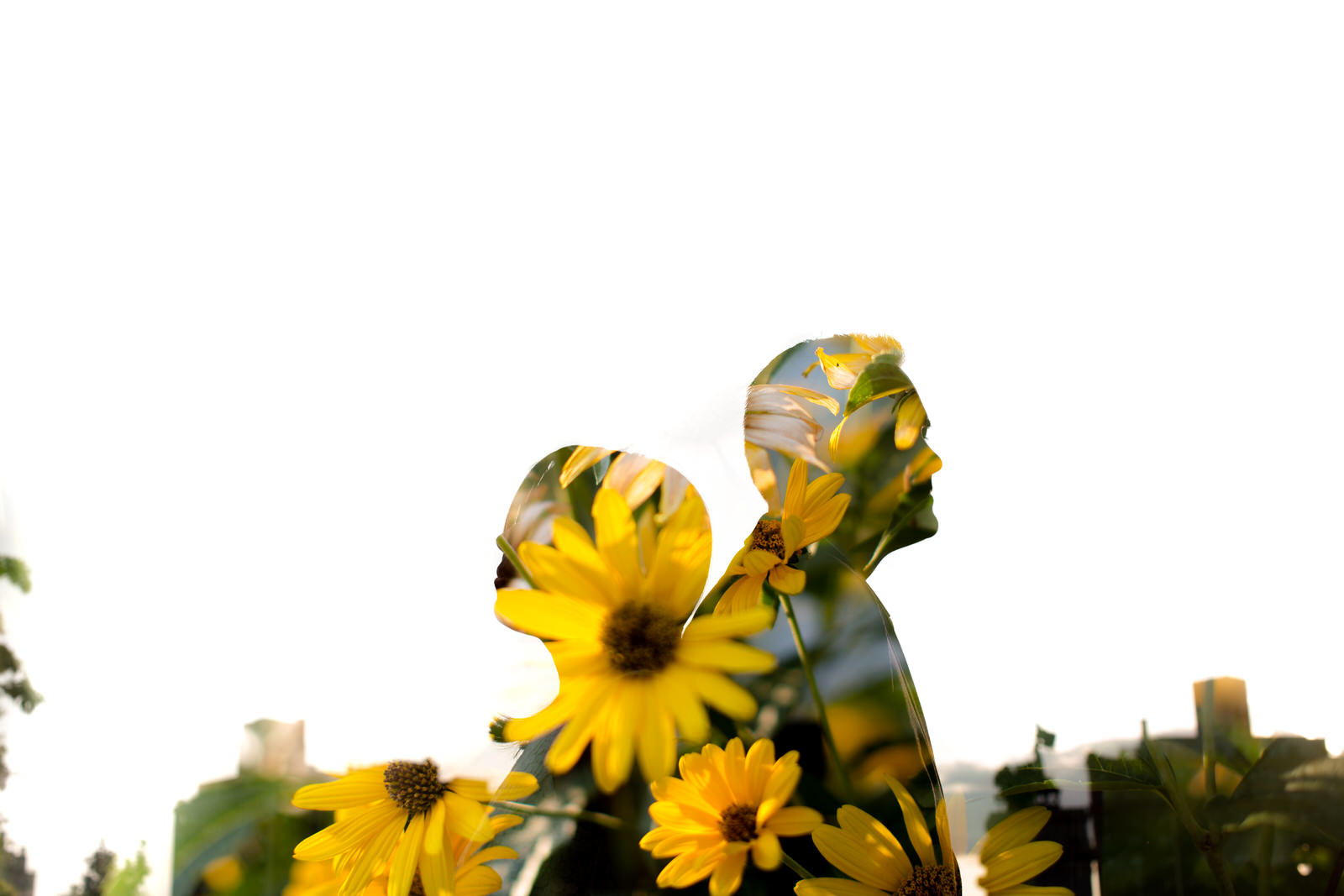 brooklyn engagement portrait double exposure flowers tiny house photo