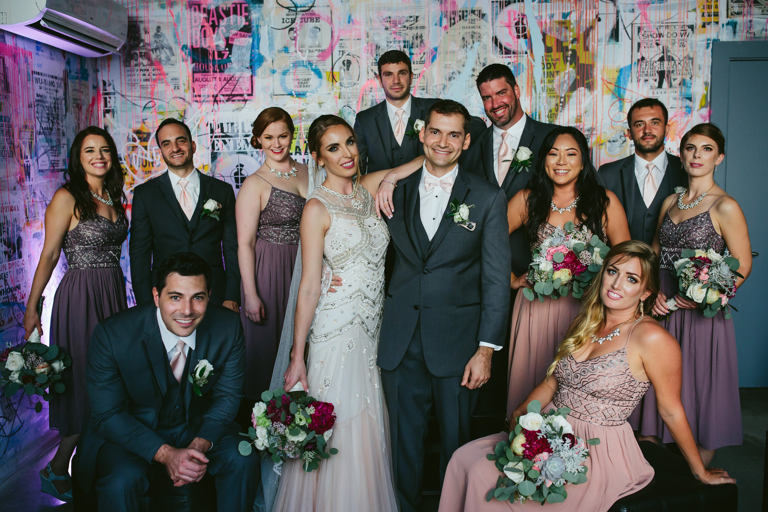 gorgeous wedding party portrait miami brickell wedding