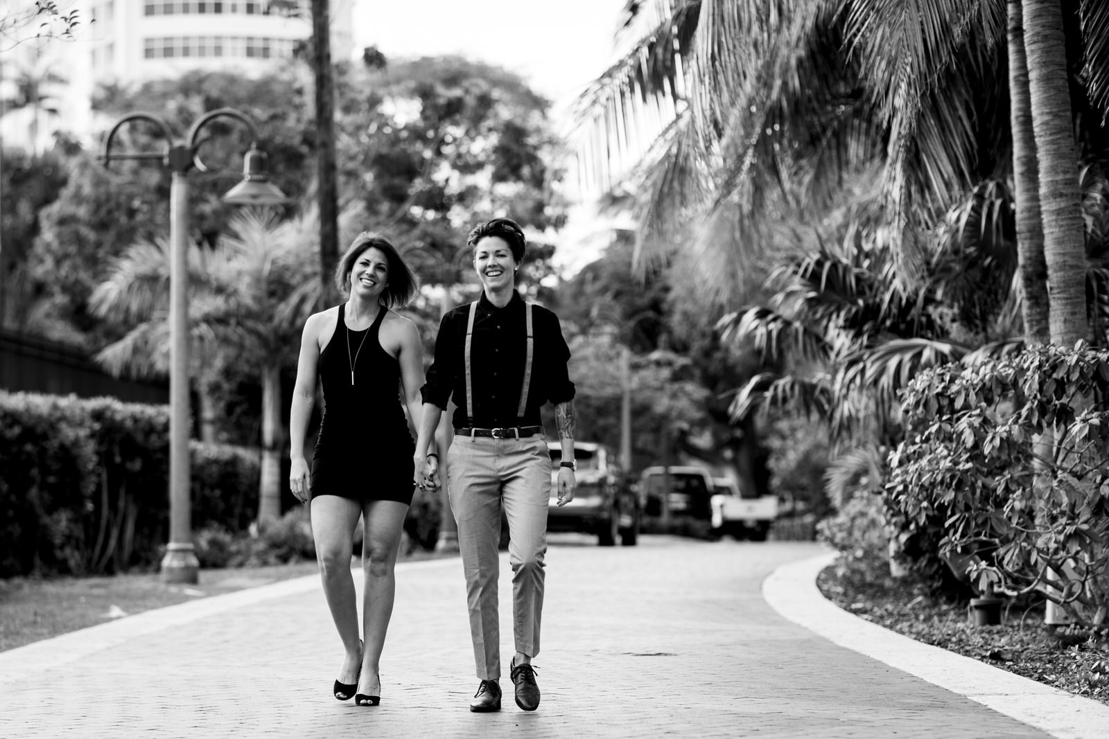 black-and-white-portrait-fun-couple-walking-fort-lauderdale-florida.jpg
