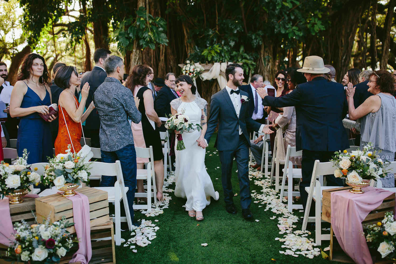 bride and groom wedding at flamingo gardens by tiny house photo