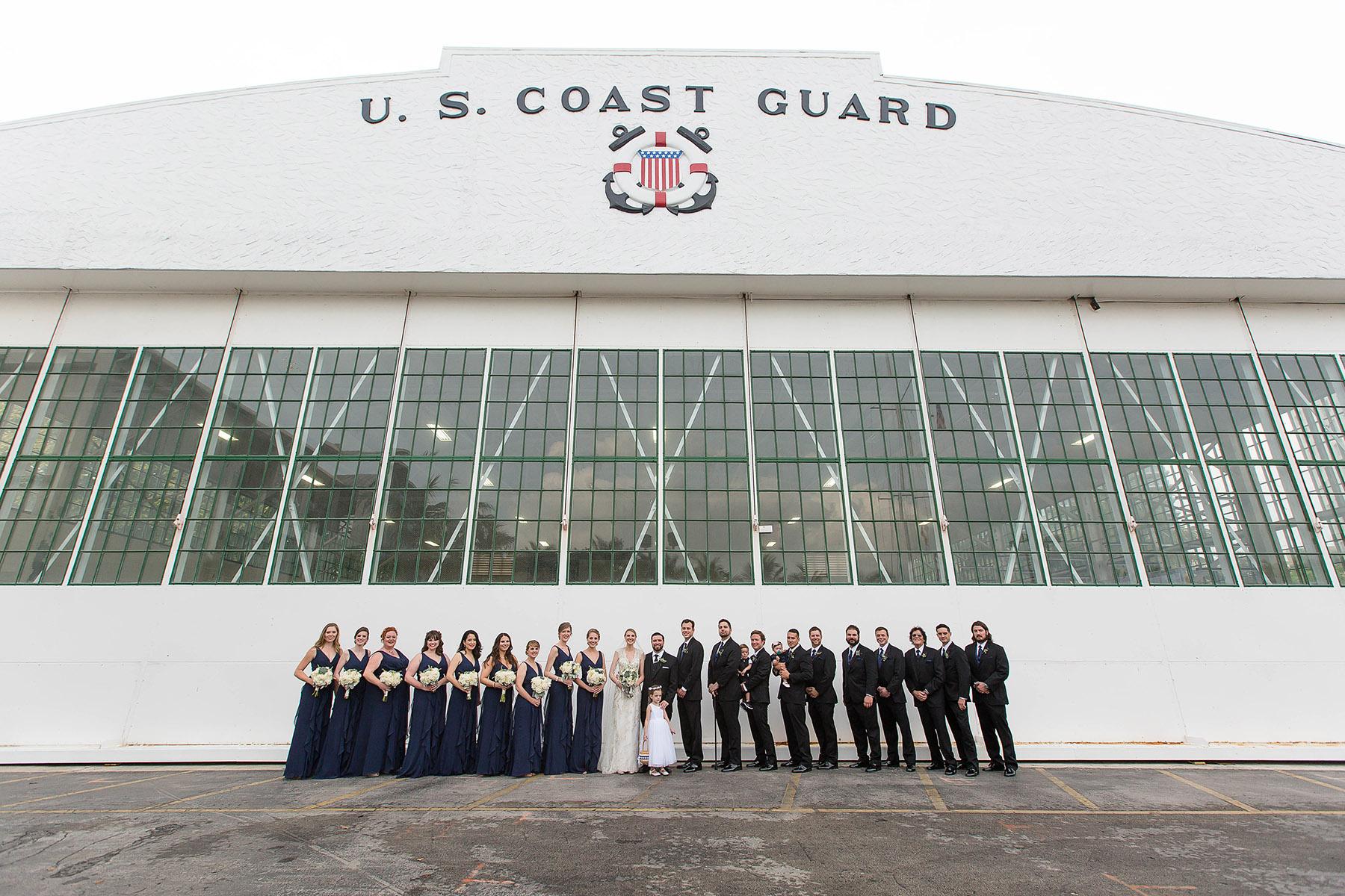 wedding party at coast guard hanger tiny house photo florida weddings