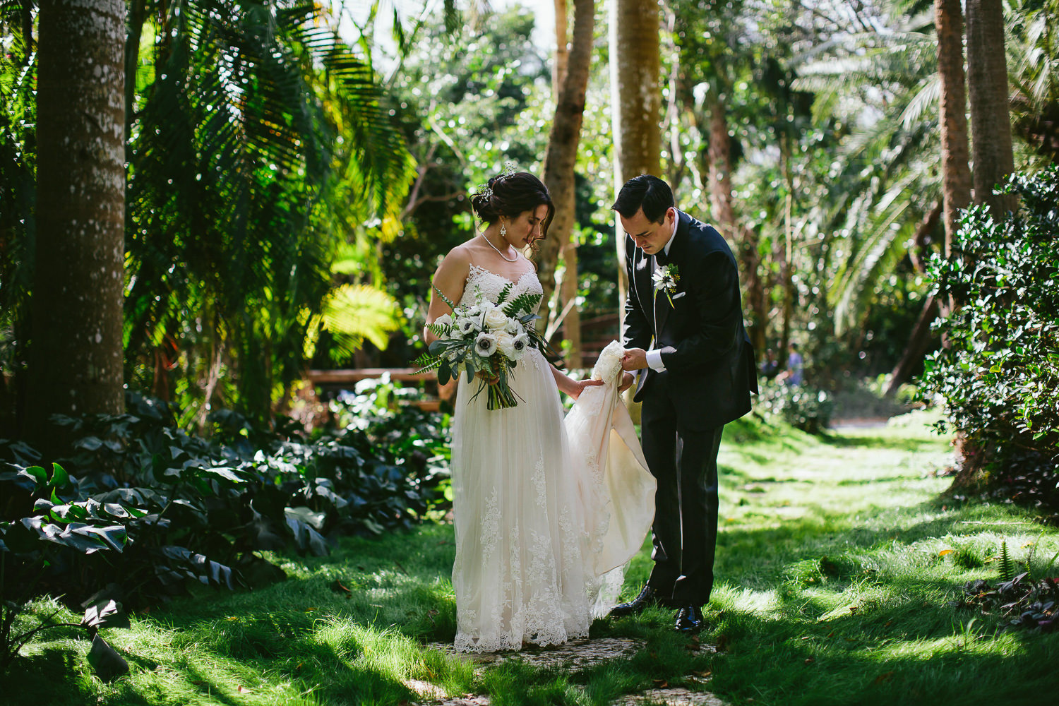 gorgeous bride and groom in a forest before their wedding photography by tiny house photo florida weddings