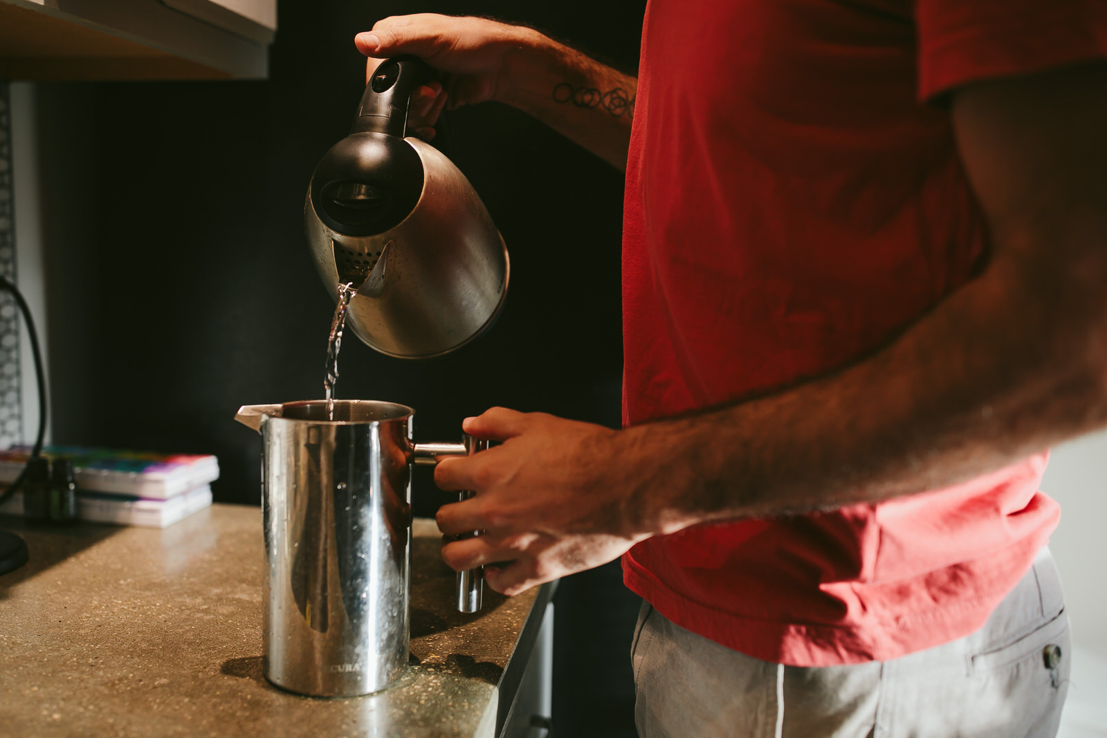 making french press morning engagement session