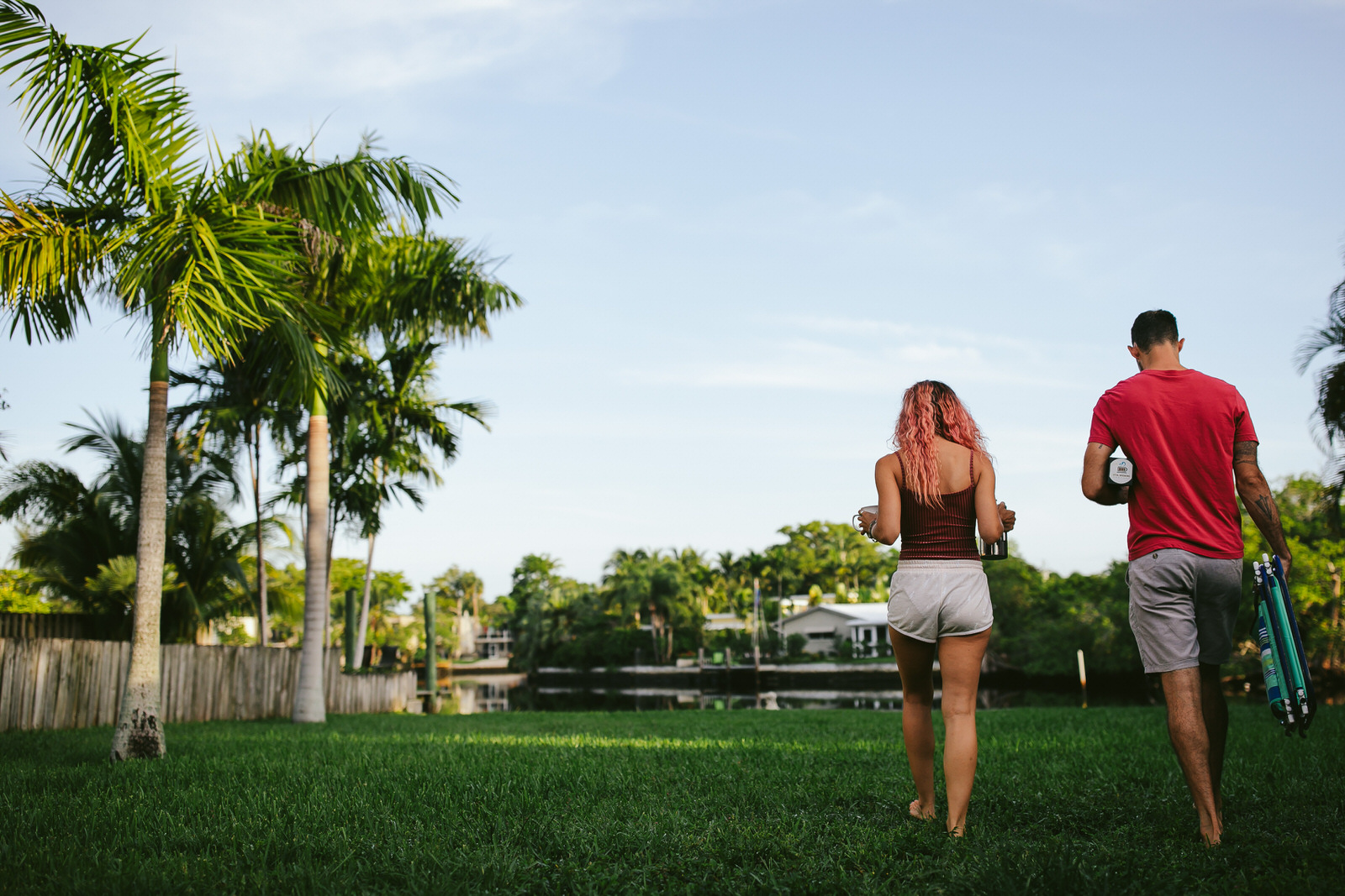 fort lauderdale engagement session backyard canal coffee