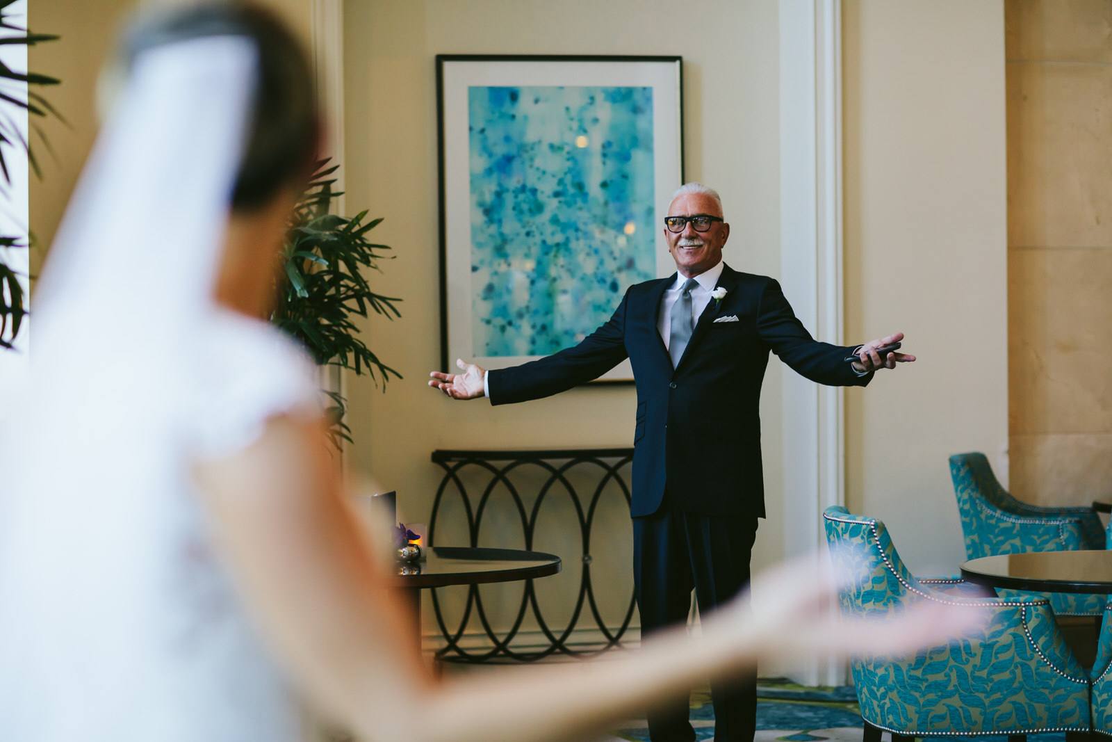 dad first look tiny house photo key biscayne ritz carlton wedding