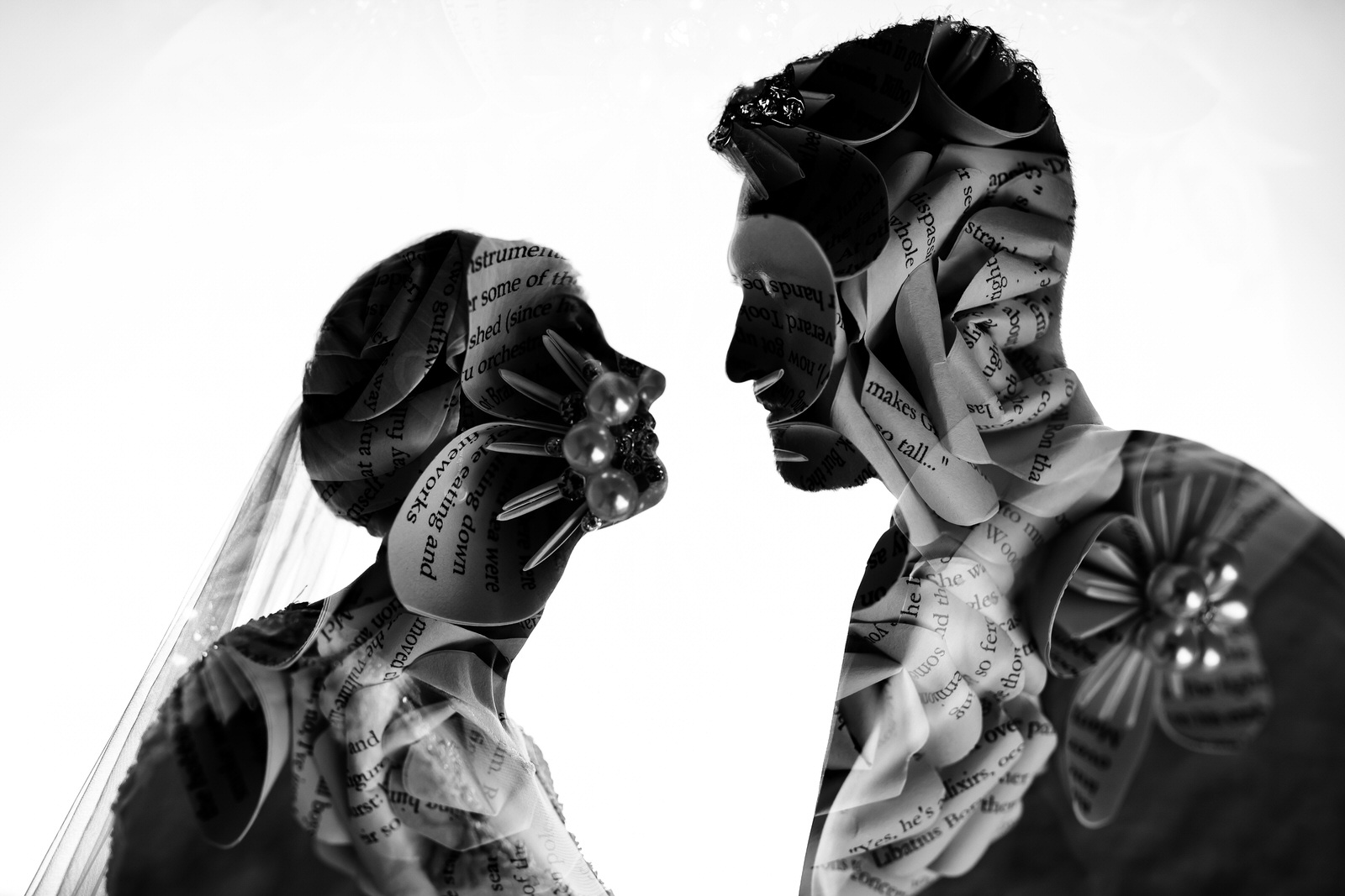 Double Exposure Wedding Portrait Tiny House Photo