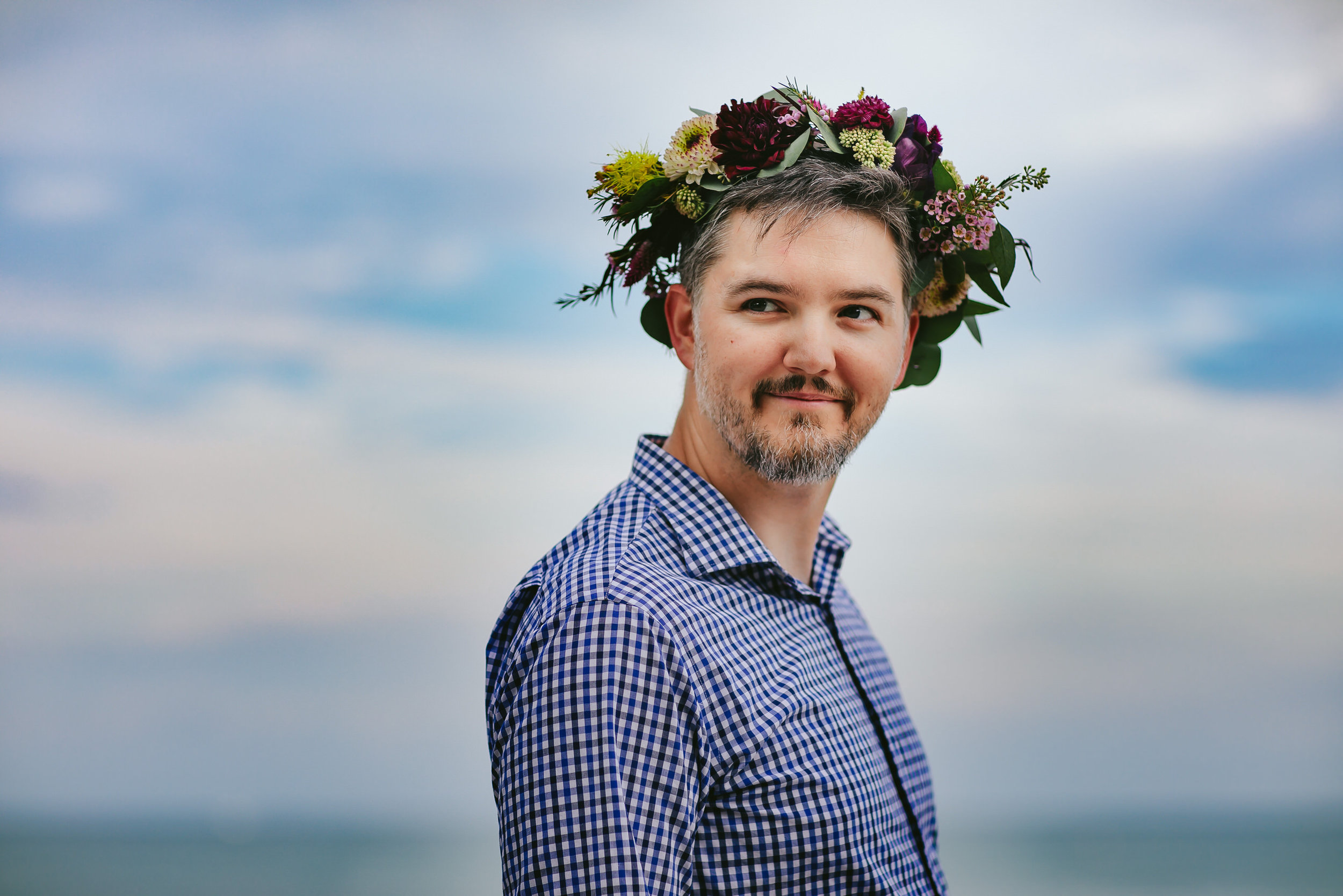 Edgewater Chicago Pregnancy Portraits Husband Flower Crown.jpg