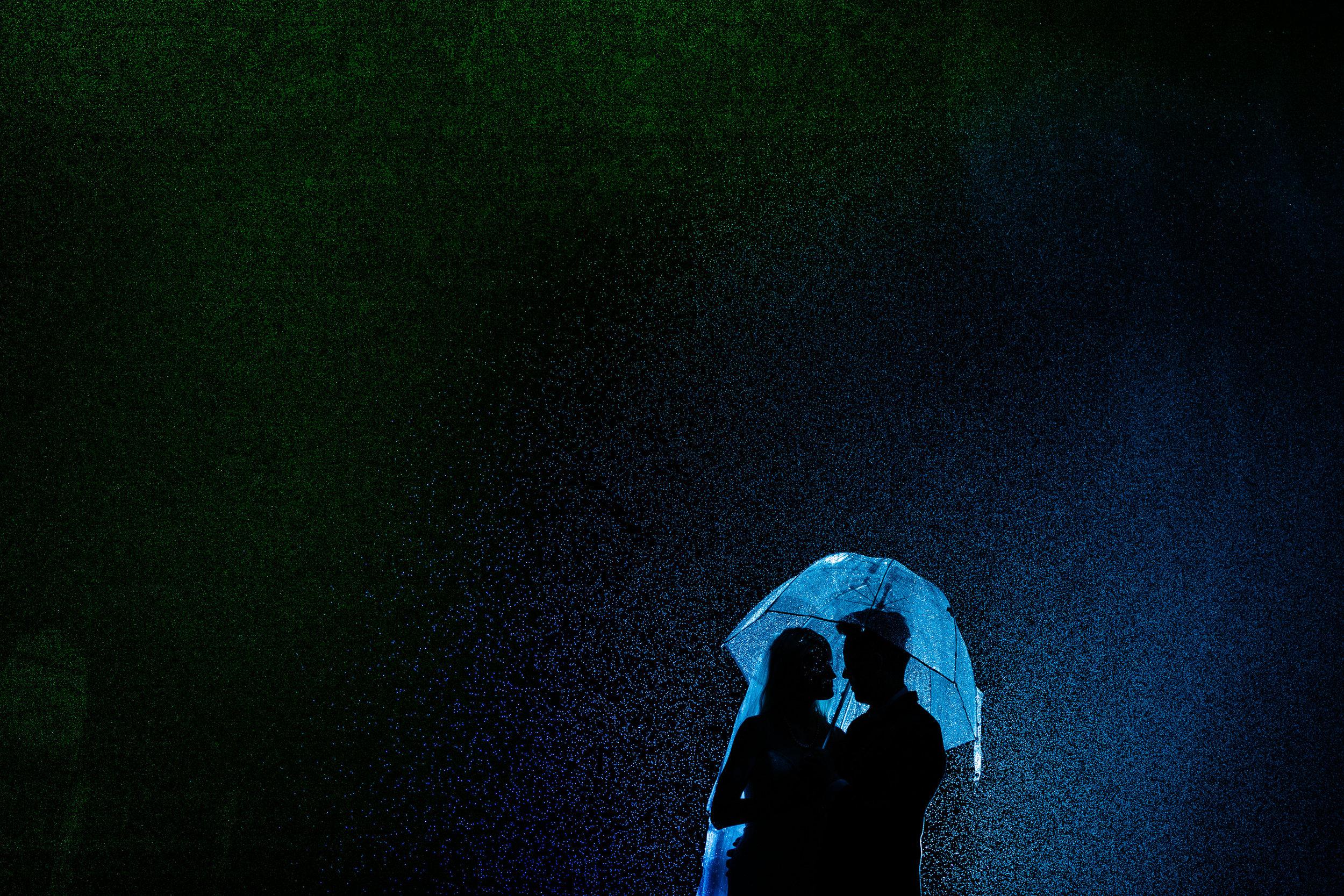 Bride and Groom Umbrella Rain Shot