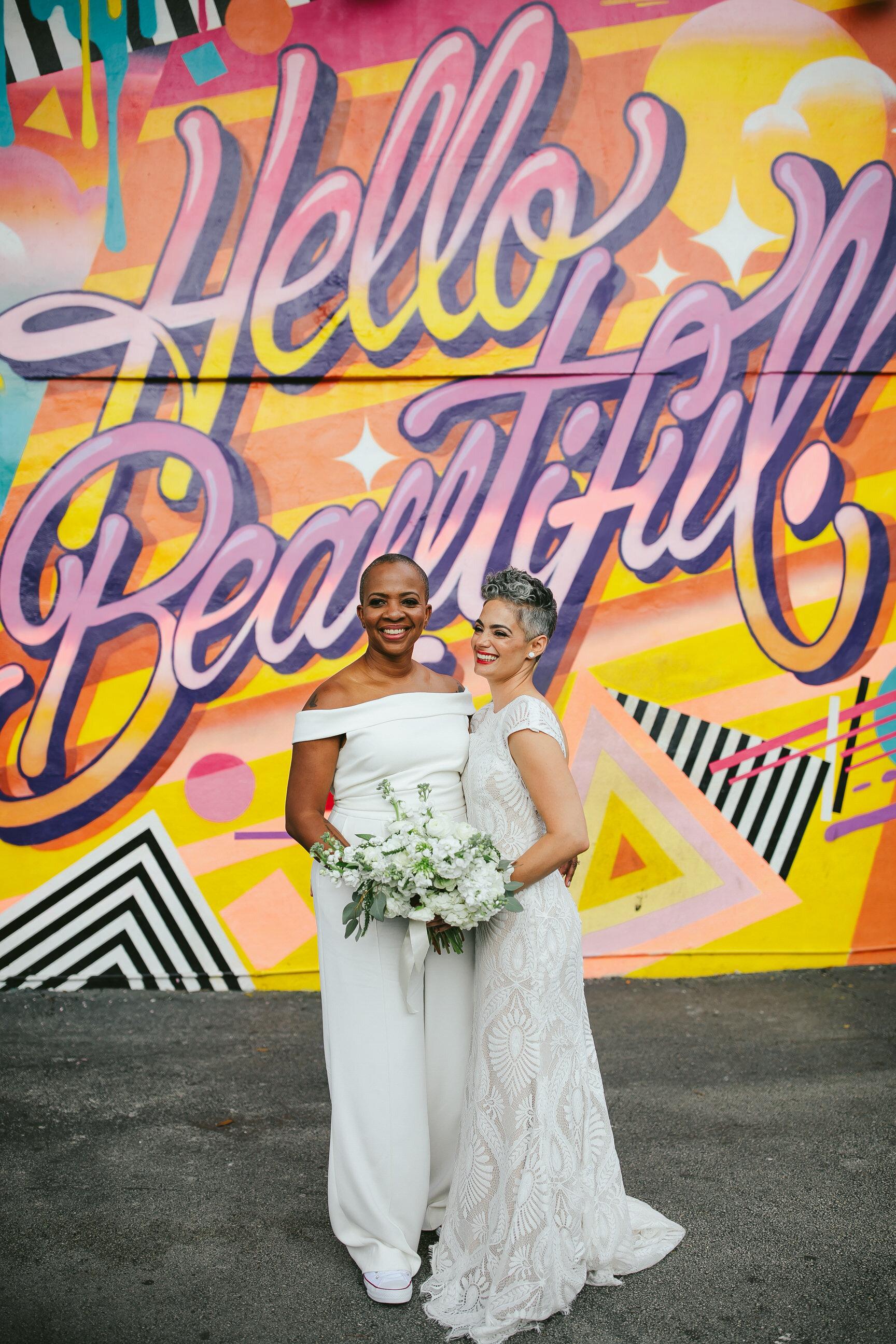 Hello Beautiful Mural Two Brides Wynwood Walls Miami