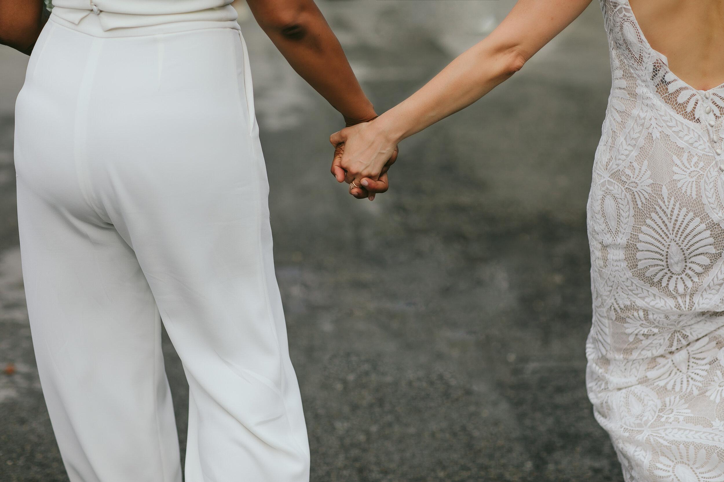 Brides Holding Hands Wynwood Elopement