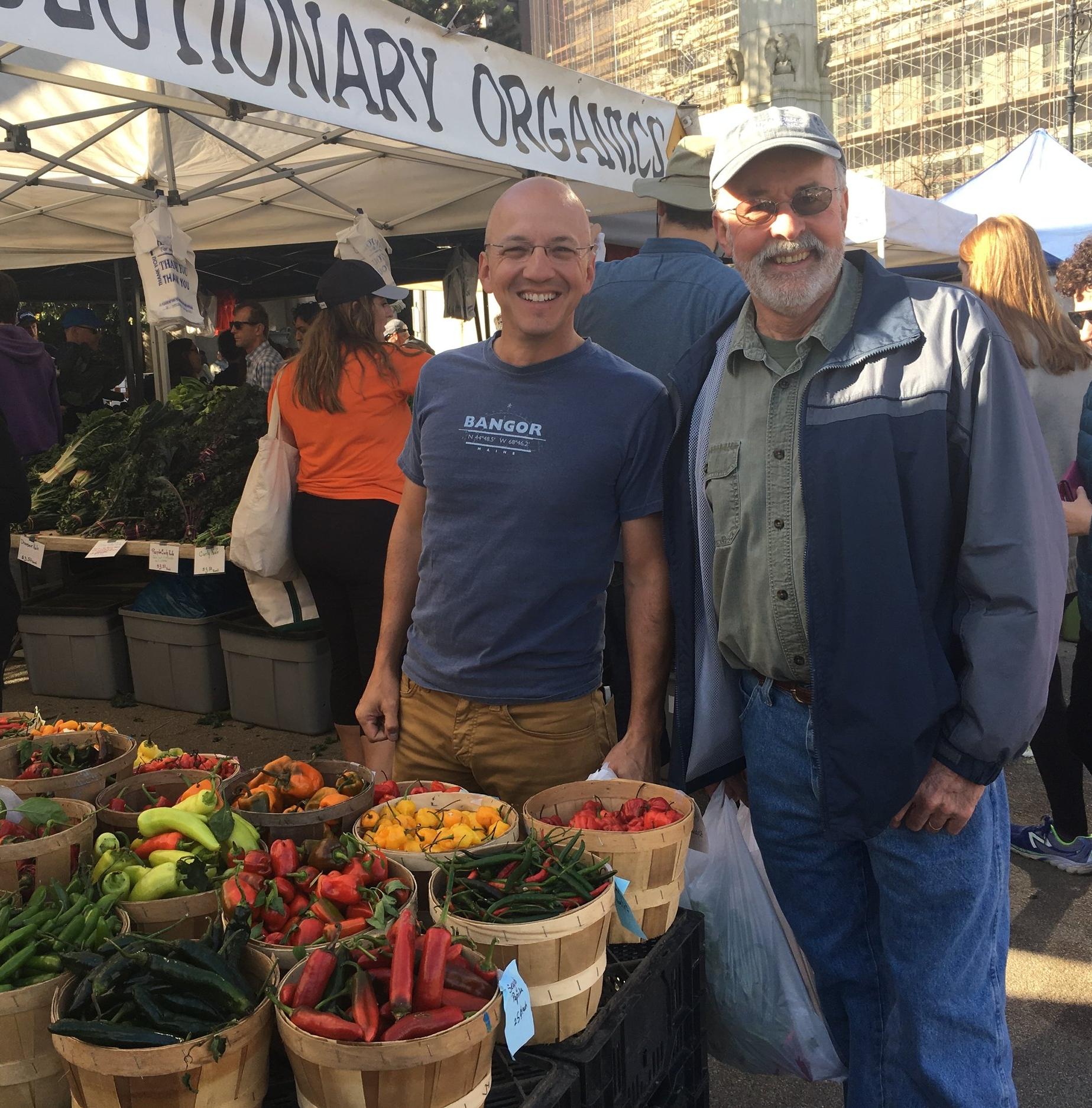 Geoff with Alex's dad  at a farmer's market in Brooklyn