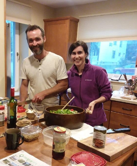 Alex and her brother  prepare Easter dinner