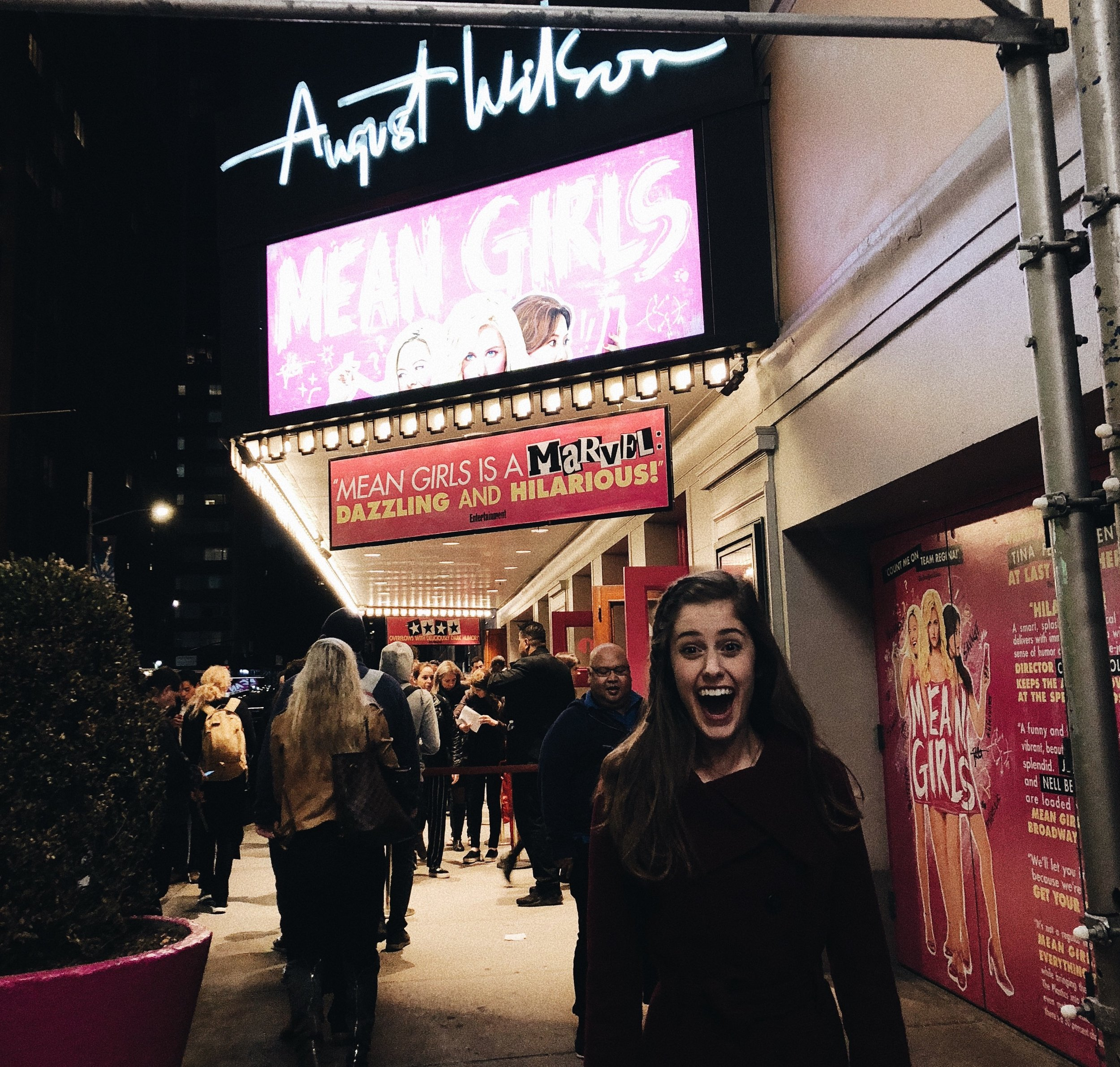 Photo taken by Lucy Given. Samantha winning Broadway Mean Girls Lottery, October 2018.