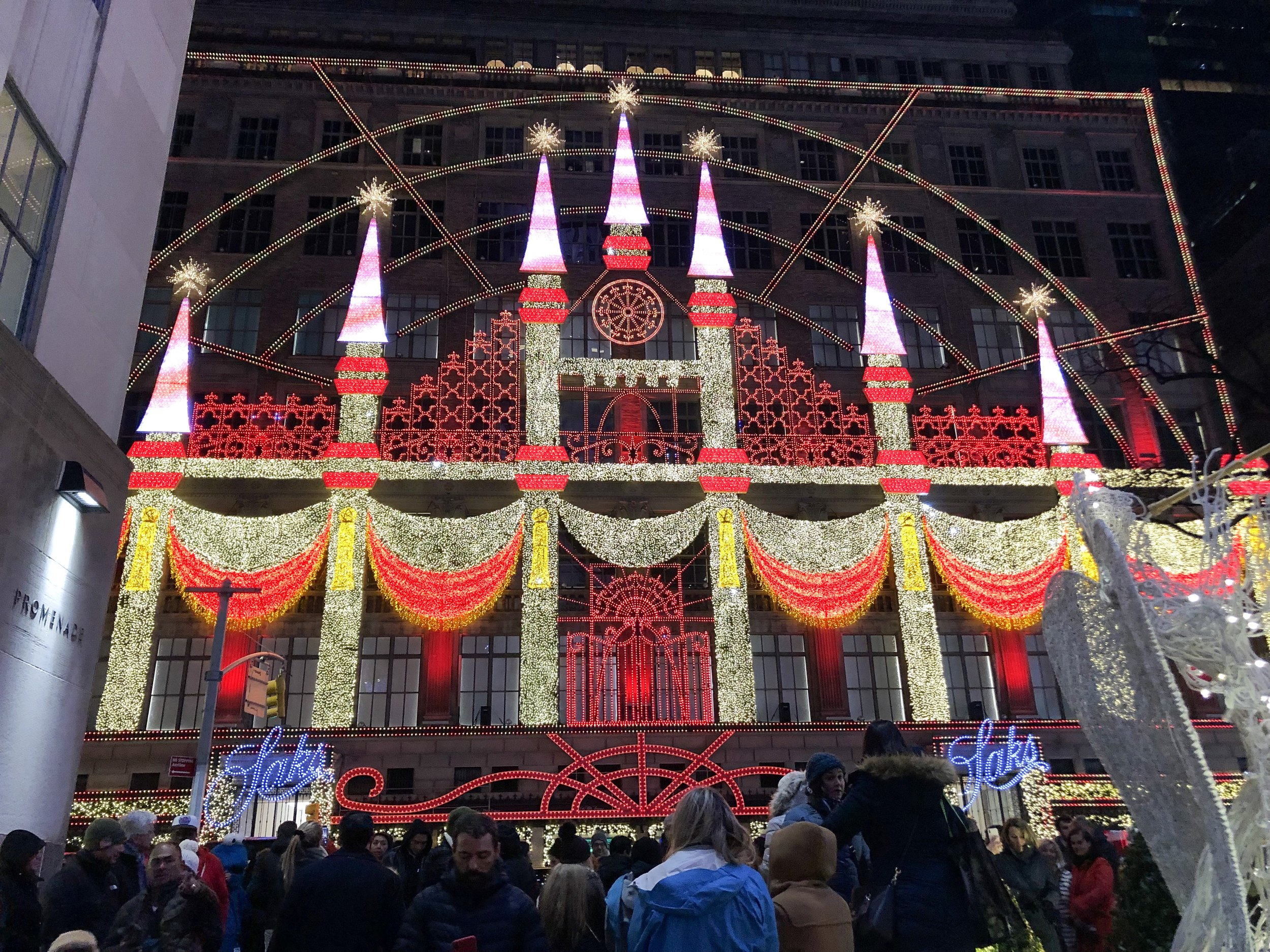 Photo taken by Samantha McHenry. Saks 5th Ave. Christmas Light Show, December 2018.