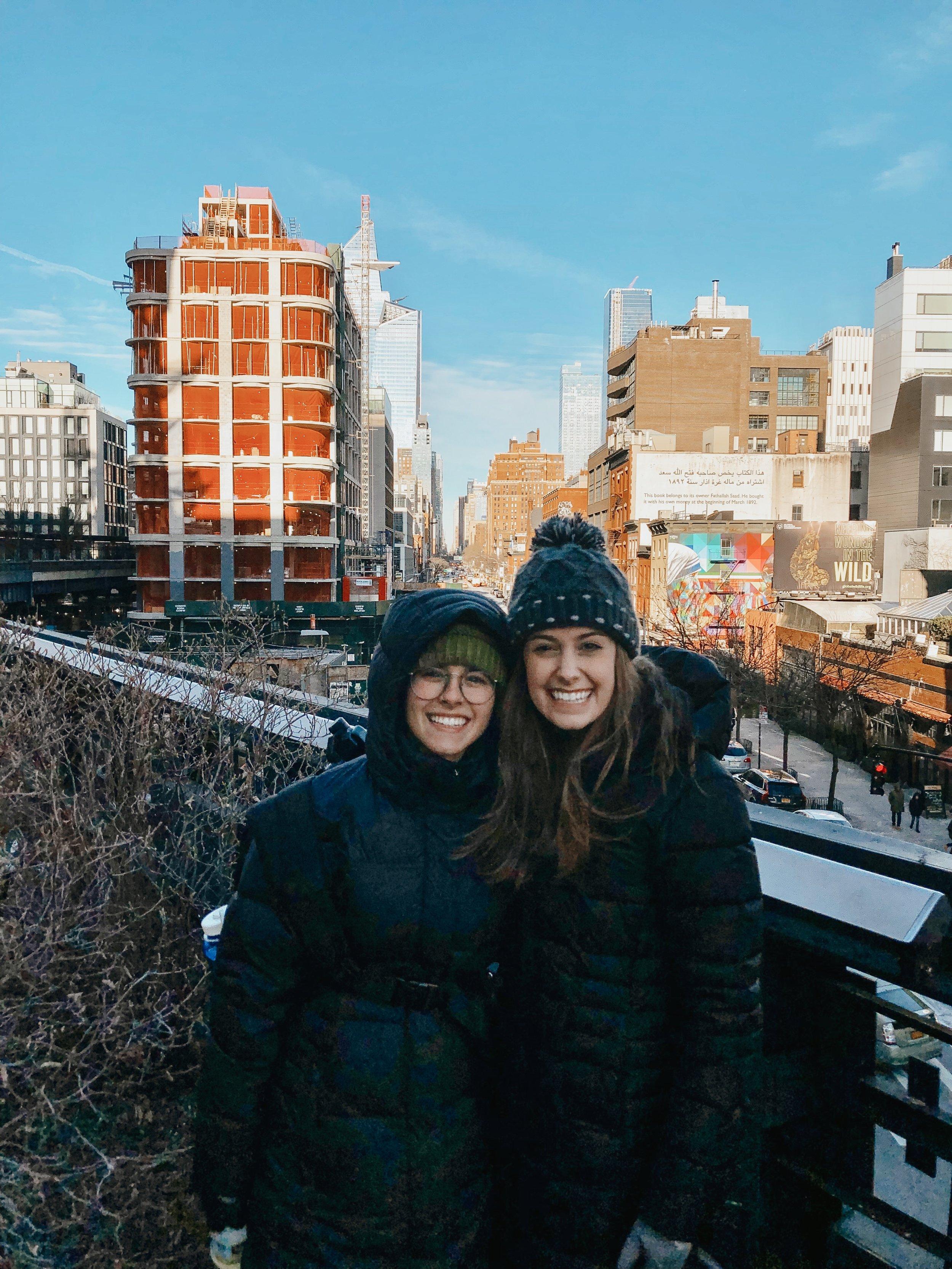Photo taken by Tourist of Samantha McHenry and Sara Kreski on NYC High Line, 2019.