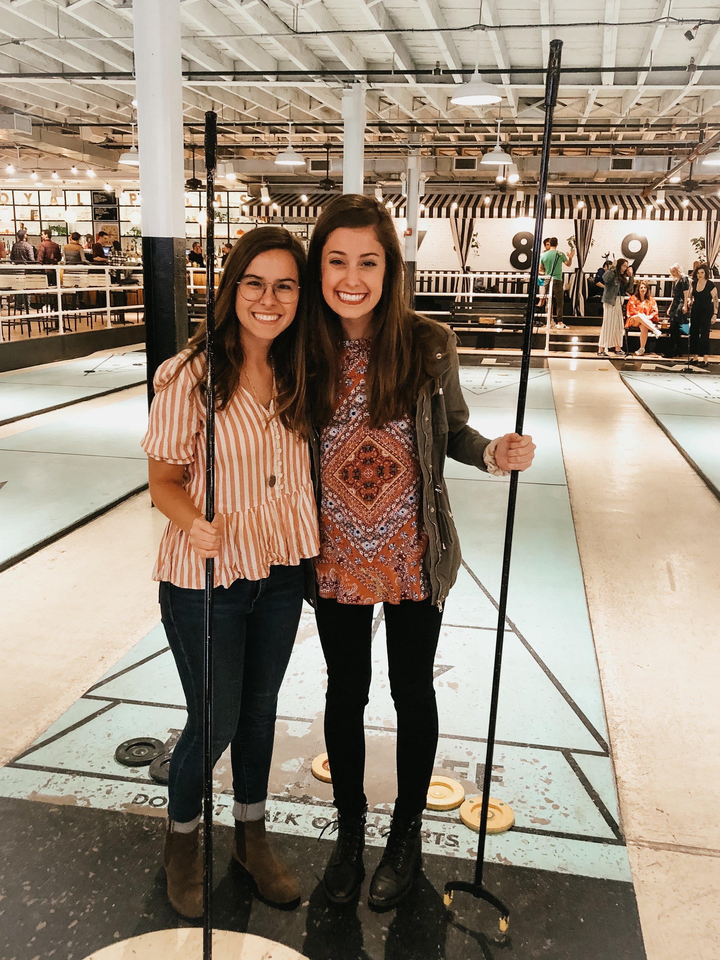 Image taken by RPSC employee of Samantha McHenry and Sara Kreski, Royal Palm Shuffleboard Club 2019.