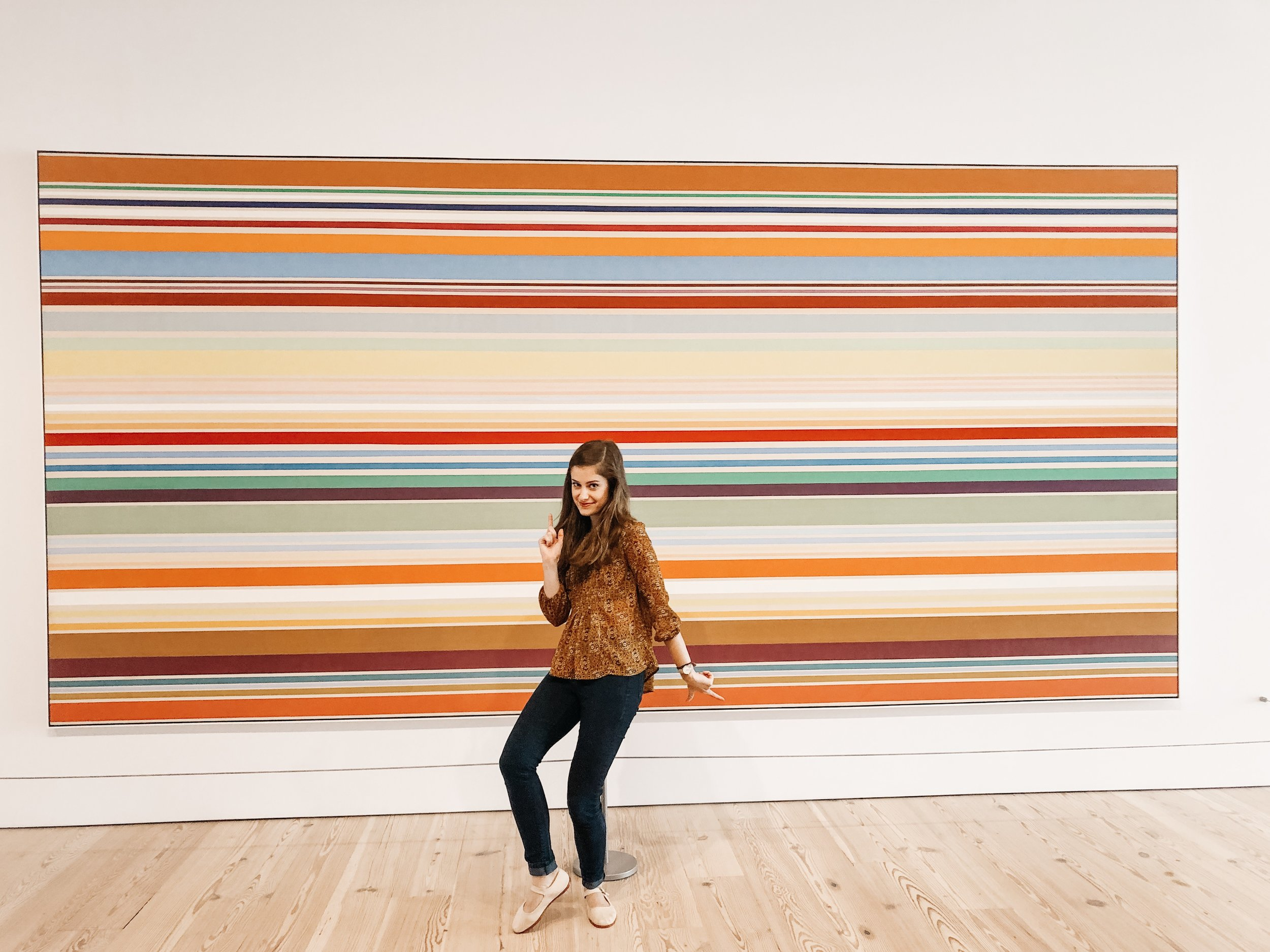 Photo by Sara Kreski of Samantha McHenry at the Modern Art Exhibit in the NYC Whitney Museum of American Art, 2019.