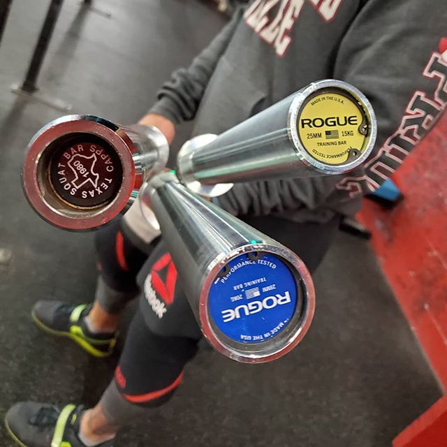 Three new bars arrived at East Ave Barbell today: -Texas Squat Bar -Rogue Men's Olympic Training Bar -Rogue Women's Olympic Training Bar