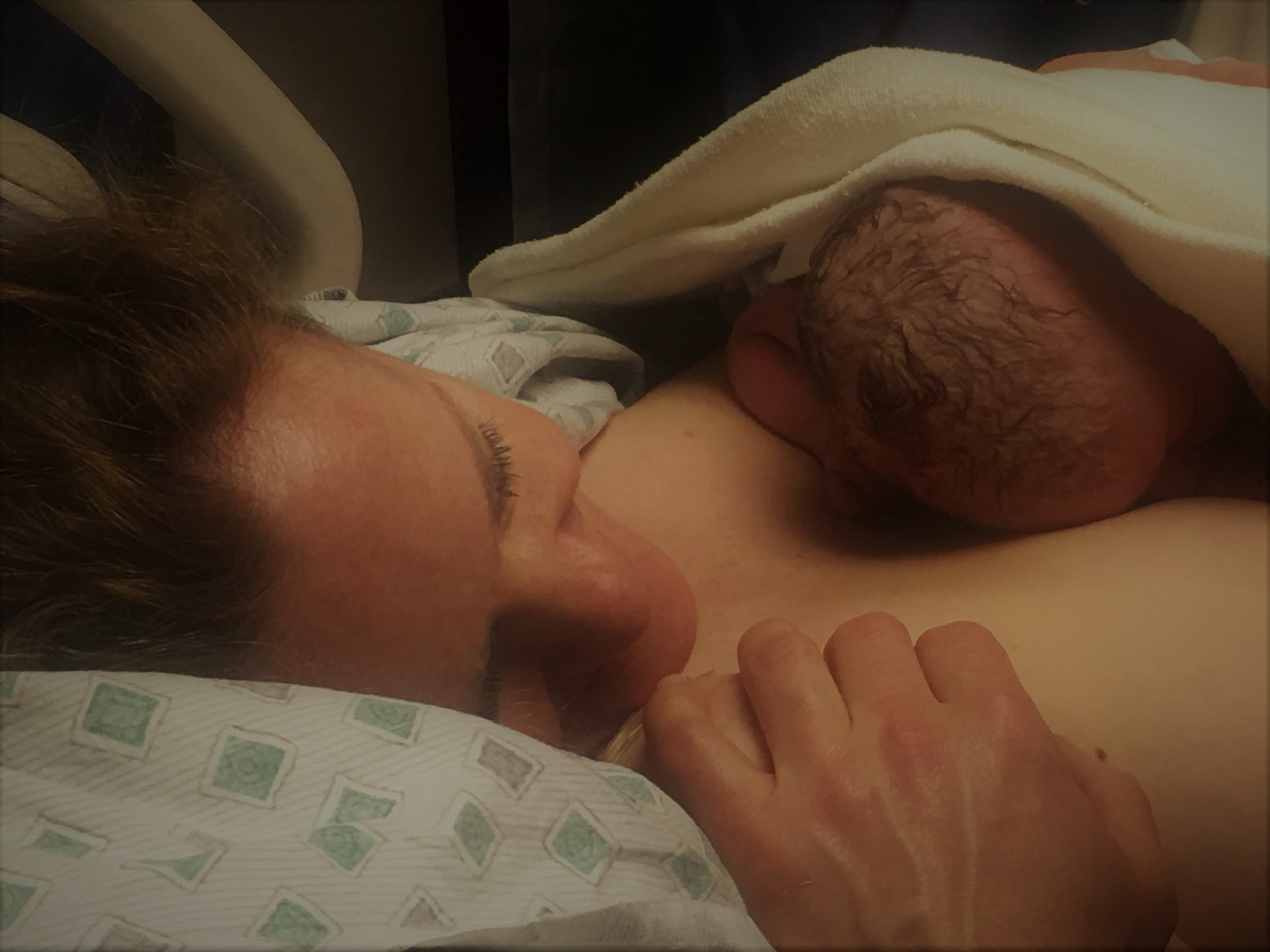 Dad's hand on mom's shoulder: I  love you both
