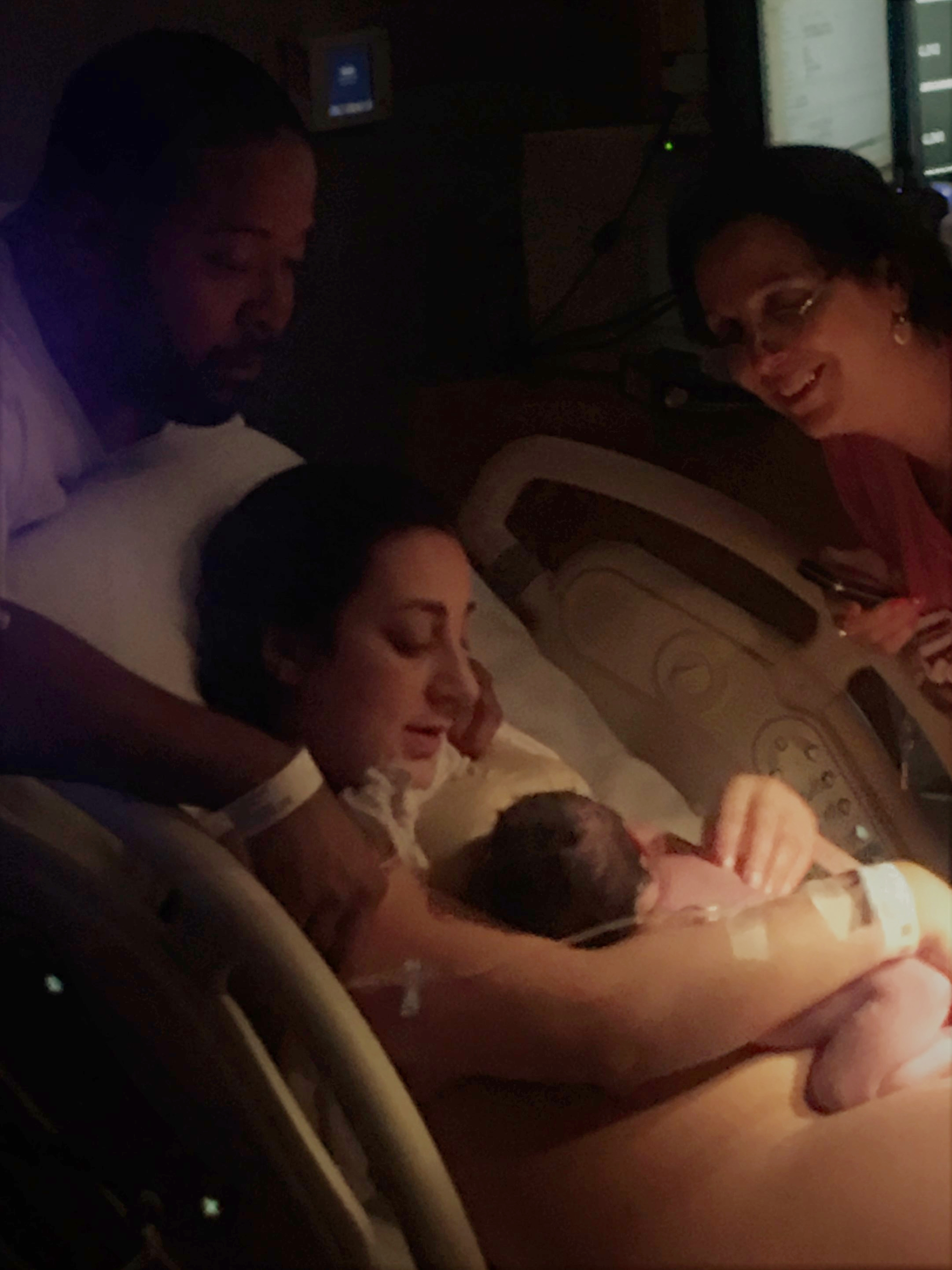 Father, mother, grandmother...all falling in love with baby! At  Inova Fair Oaks Hospital  with Tabitha Kaza